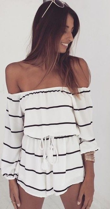 #whitefoxboutique #spring #Summer #outfitideas   OTS Romper Stripe                                                                             Source