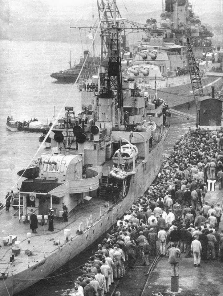HMS Amethyst (F-116) modified Black Swan-class sloop arriving at Devonport after the Yangtze Incident!