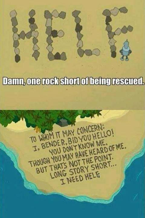 """Damn, one rock short of being rescued."""