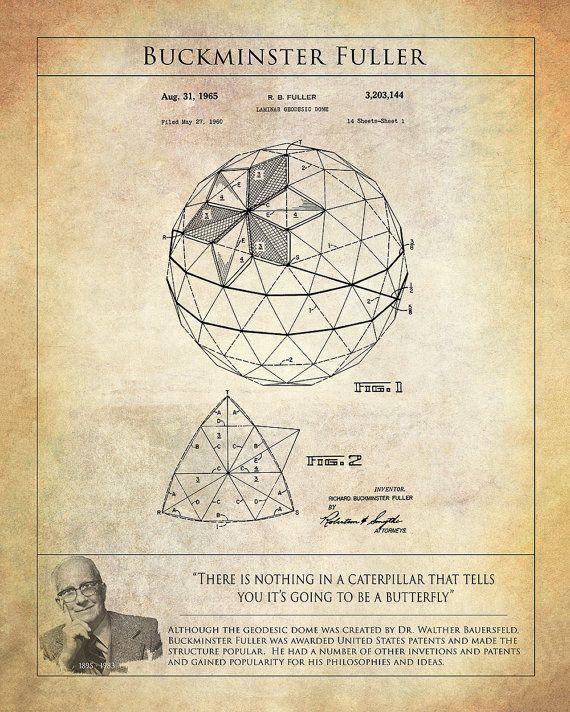 Buckminster Fuller Geodesic Dome Patent Art Print - Patent Art Print of Geodesic Dome - Buckminster Fuller Print -