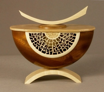 """Hide In Plain Sight, 2011  Sapele, Holly, Maple, Glass  5 3/4""""h x 6 1/2""""w x 3 1/4""""d   by Alan Carter"""