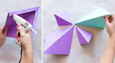 Decorar pared con figuras geometricas origami 3