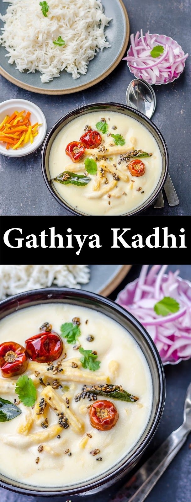 Herbivore Cucina: Gathiya Waali Kadhi...A tempting and comforting bowl of Gathiya Waali Kadhi with added flour dumplings, this is perfect with steamed rice! #ComfortFood #DalsAndSoups #DumplingSoup #GathiyaWaaliKadhi #GujaratiKadhi #GujaratiRecipes #LongLostRecipes #PunjabiKadhiPakoda #SpicedYogurtRecipes #TraditionalIndianRecipes
