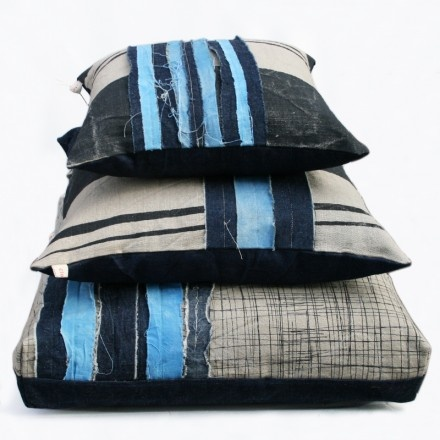 limited edition overdyed indigo patched cushions by Clothfabric