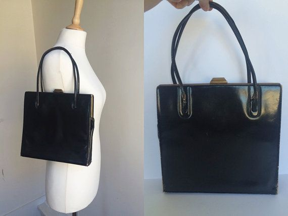 1950s/60s Black Patent Top Handle Handbag
