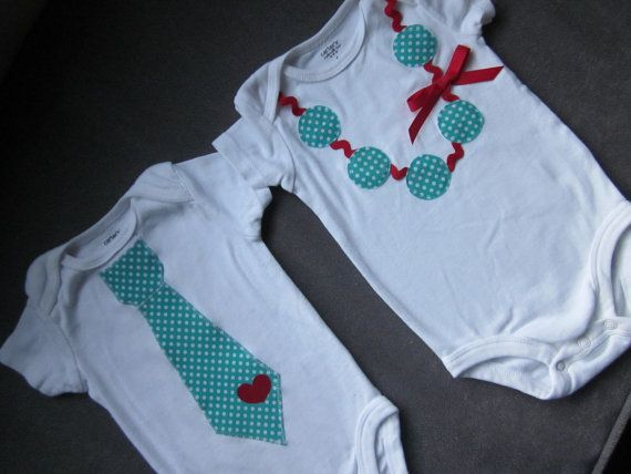 $32 - brother and sister combo, applique tie and applique necklace with ric rac detail