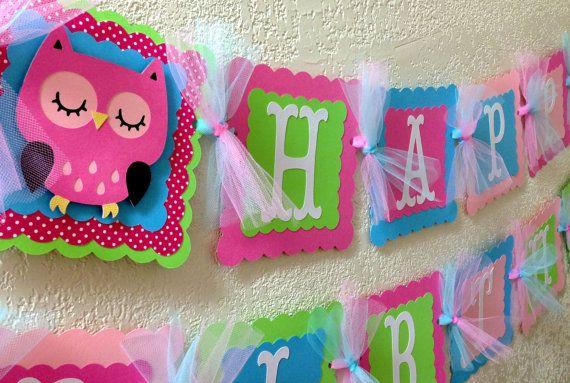Owl Birthday Party Banner Girl Owl Banner by CelebrationBanner