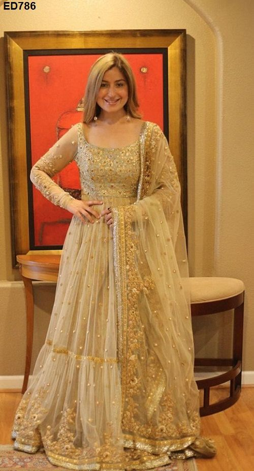 Bollywood Design Anarkali Lehenga Bollywood Designer Gorgeous Embroidery Anarkali Lehenga. gold designer anarkali with gold embroidery. #goldanarkali #anarkali #designer anarkali