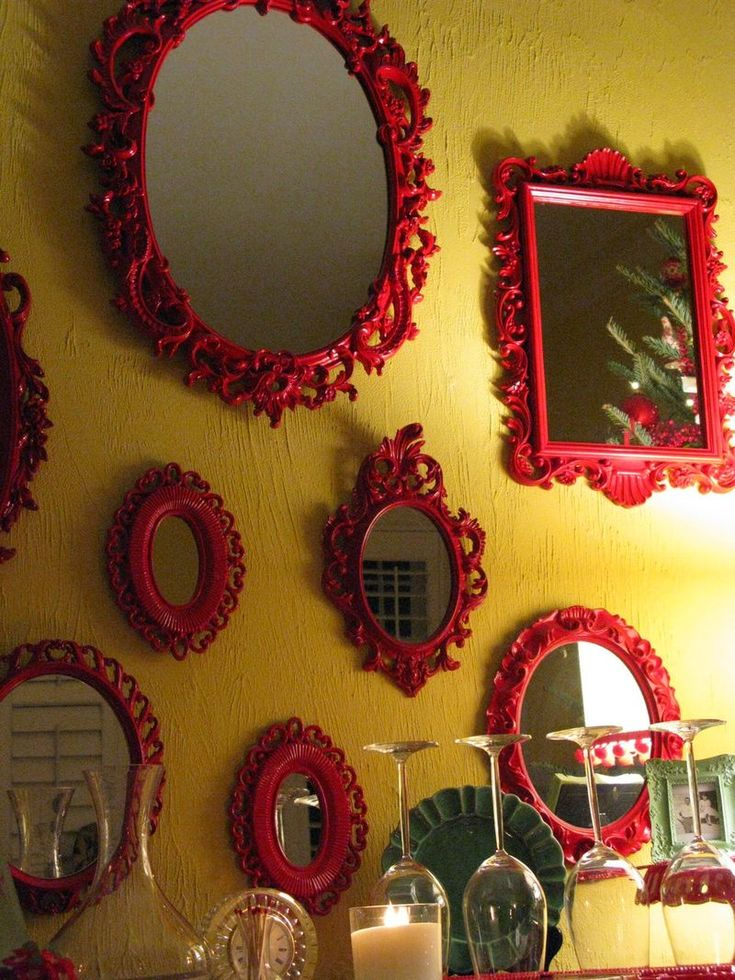 love all the mirror frames painted the same!