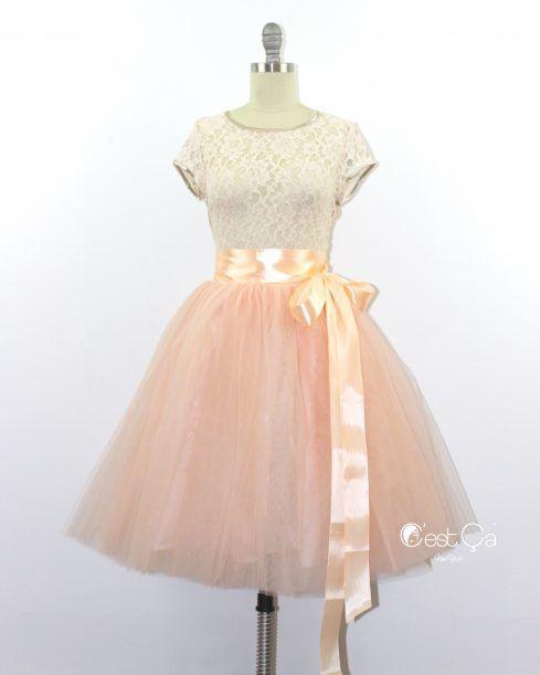 Clarisa Nude Pink Tulle Skirt - Midi - C'est Ça New York