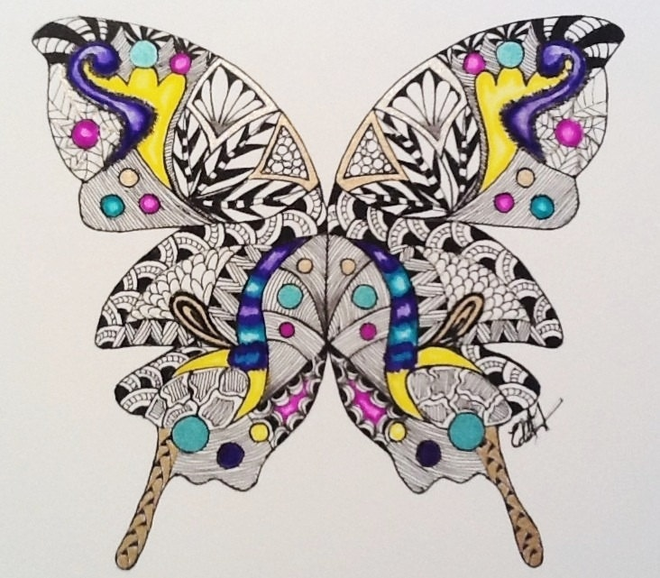 Zentangle Art Butterfly, 9 x 12 ink and watercolor limited edition signed and numbered,. $22.00, via Etsy.