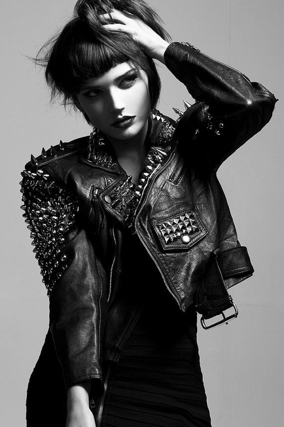Spiked & Studded Leather Motorcycle Jacket  Punk Metal by debuts, $400.00