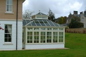 Square Georgian Style Conservatory With Glazed Roof