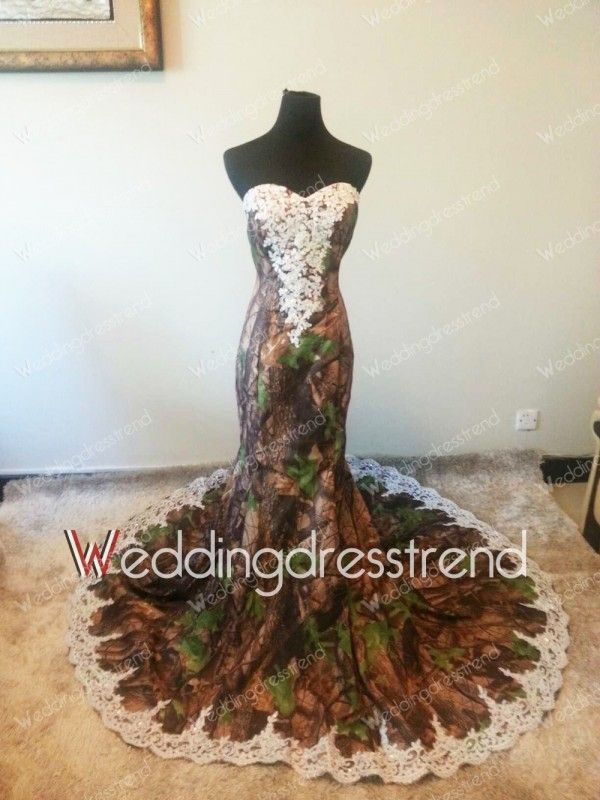 Beautiful Beautiful Camo Sweetheart Applique Mermaid Wedding Dress