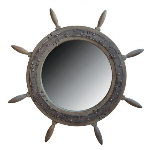 Nautical Mirrors and Driftwood Mirrors - ideal bathroom nautical items, beach mirrors for nautical decoration in a nautical decor themed home or for coastal decor in a nautical home, seaside bathroom or boat in the UK including cut out heart mirror, nautical mirror, cutout heart mirror, wooden ship's wheel mirror, beach mirror with fish and a castaway driftwood mirror.