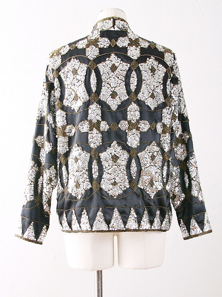 vintage beaded sequin jacket in gorgeous deco pattern
