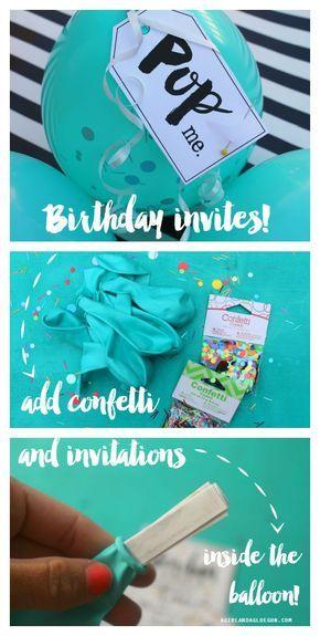 party  balloon birthday invitations. Pop the balloon for invites