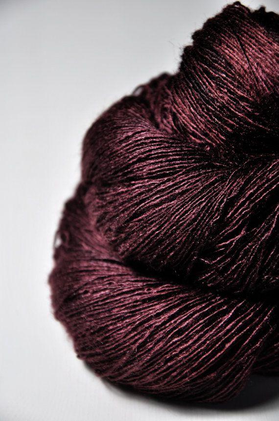 Dark blood velvet OOAK  Tussah Silk Lace Yarn by DyeForYarn, €26.50