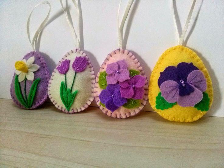Dusi ustvarja: Easter decoration / Flower Eggs, velikonočna dekoracija, jajčka iz filca