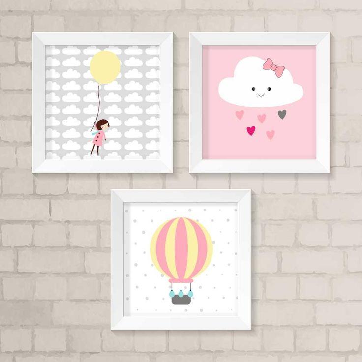Dê mais vida ao quarto do seu filhote com o nosso kit de quadros decorativos. São 3 quadros com detalhes em rosa, amarelo e cinza.  Cada quadro possui a moldura branca de 23,5 x 23,5 cm e frente de vidro.  Gravura impressa com qualidade fotográfica, tamanho: 20 x 20 cm.