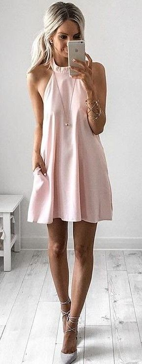 #summer #style  Baby Pink Dress & Gray Shoes                                                                             Source