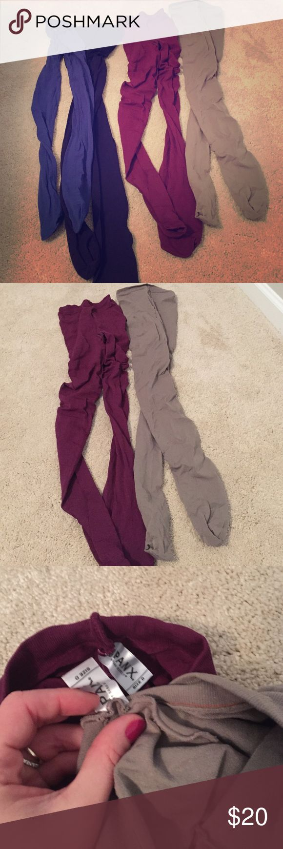 Assorted Colored Tights 4 pair of assorted colored tights. The maroon and tan are spanx size d the blue and purple are brand unknown and tagless but size equivalent to a L 10/12. All in good condition and rarely, if ever, worn. SPANX Accessories Hosiery & Socks