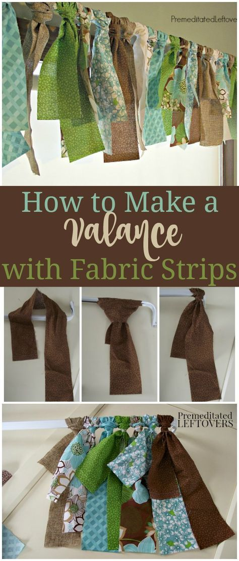 How to Make a Fabric Strip Valance - This DIY, No-Sew Window Treatment is easy to make with a curtain rod and several different quarter yards of fabrics.