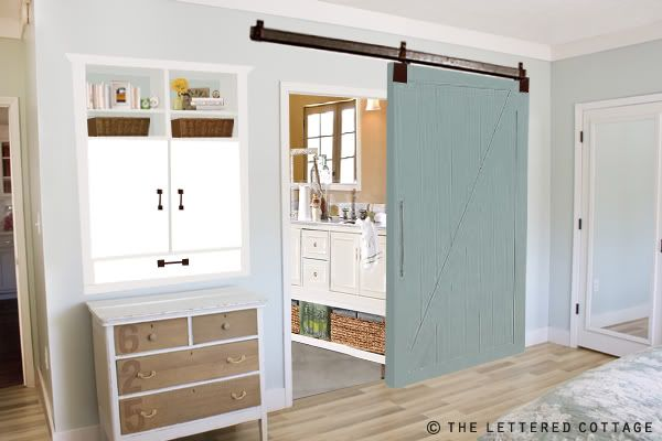 Love the BLUE Sliding Barn Doors!!!!   We're Building A Barn Door | The Lettered Cottage