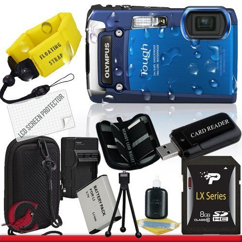 Olympus Tough TG-820 iHS Digital Camera (Blue) 8GB Package 4 by Olympus. $500.00. Package Contents:  1- Olympus Tough TG-820 iHS Digital Camera (Blue) w/ All Supplied Accessories 1- 8GB SDHC Class 10 Memory Card   1- USB Memory Card Reader  1- Rechargeable Lithium Ion Replacement Battery  1- Weather Resistant Carrying Case w/Strap  1- Pack of LCD Screen Protectors  1- Camera & Lens Cleaning Kit System  1- Mini Flexible Table Top Tripod 1- Memory Card Wallet 1- Floating Came...