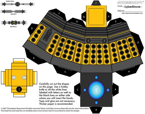 Well, would you look at that?! Some generous soul has created a huge library of free, downloadable Dr. Who papercraft templates. They've got all sorts of good doctors, daleks, tardises,...