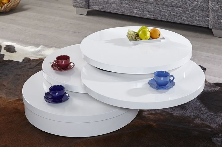 Table basse design Triple rond blanc high gloss