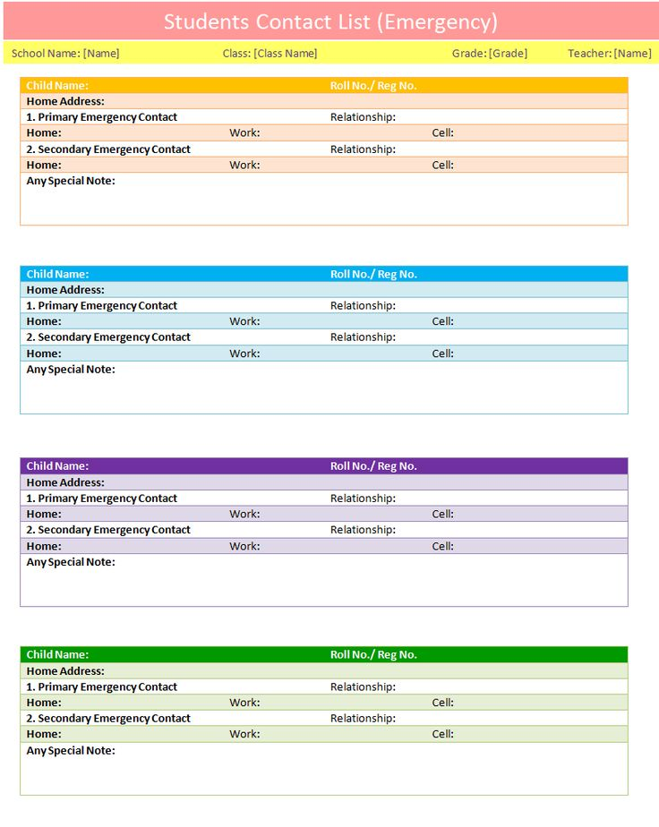 Students contact list template to use in case of emergency | List ...