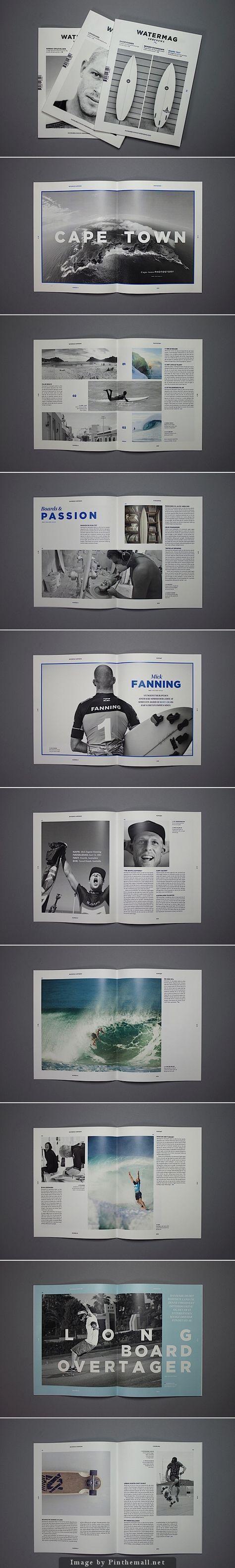 Editorial Design Inspiration: Watermag Surfnews by design student Bjarke Nøhr Kristensen