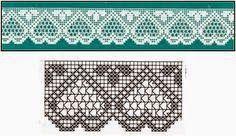 Crochet y Dos agujas: Puntilla con corazones - con esquema