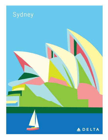 Delta Air Lines Travel Poster by Mariel Childes http://www.marielchildes.com/Delta-Travel-Posters