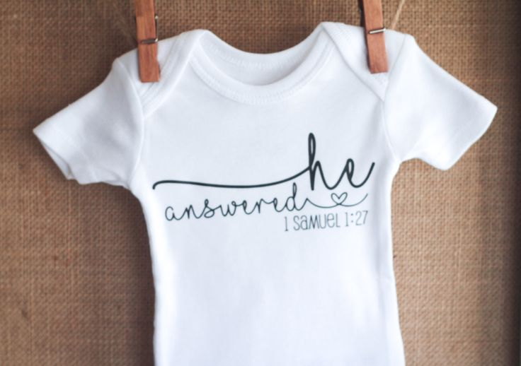 Pregnancy Announcement Bodysuit, Pregnancy Reveal Baby Shirt, One Piece, 1 Samuel 1 27, He Answered, Pregnancy Gift, Religious…