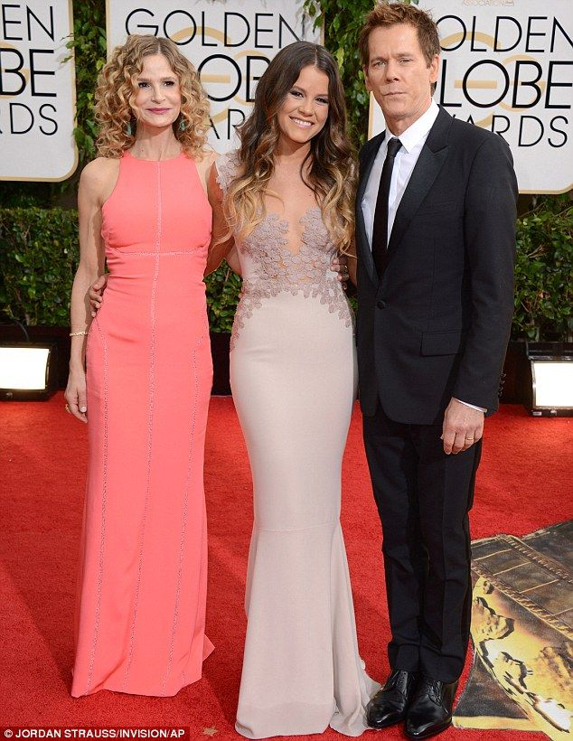Hollywood family: Kyra Sedgwick, Sosie Bacon, center, and Kevin Bacon arrived on Sunday at the Golden Globe Awards in Los Angeles where Sosi...