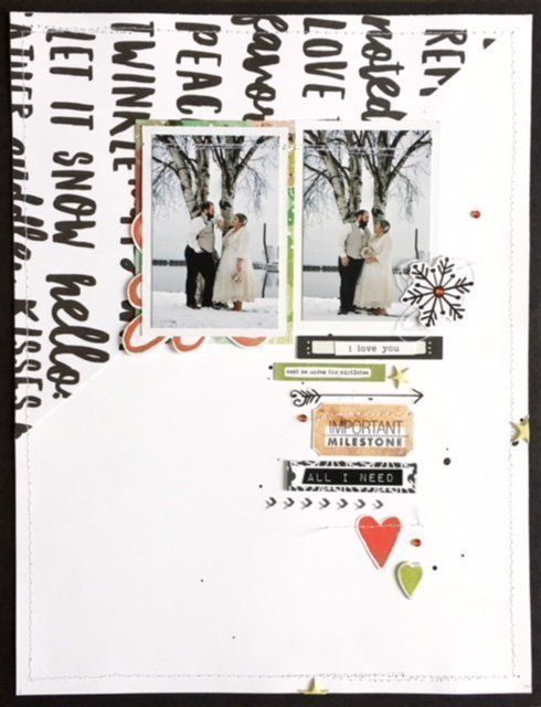 November Sketch Challenge, by Brooke Gorrell-Beaudoin using the Fair Isle collection from www.cocoadaisy.com #cocoadaisy #kitclub #memorykeeping #scrapbooking #layout #diagonal #stitching #stamping #diecuts #puffy #stickers #gems #winter #holiday #wedding
