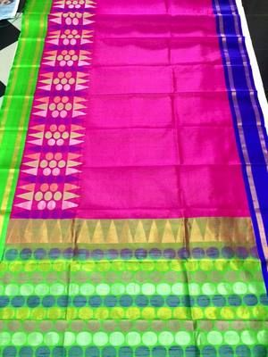 Pink Exclusive Handwoven Pure Silk Saree With Blue Border Silk Sarees on Shimply.com