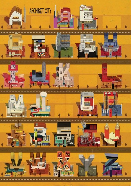 "Federico Babina is at it again, creating an imaginary ""Archibet: An Illustrated Alphabet of Architecture"""