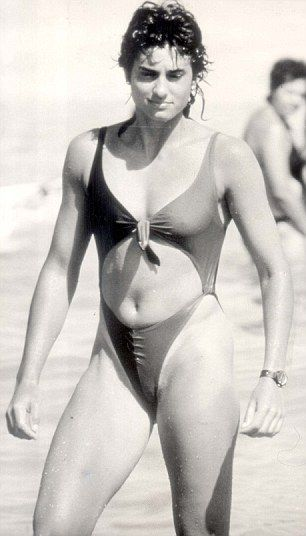 The Argentine firecracker Gabriela Sabatini poses on the beach