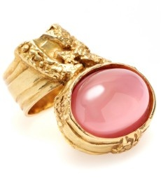 Saint Laurent ARTY GLASS STONE RING    We love Yves Saint Laurent's couture jewelry collection, and this covetable milky rose glass stone ring emanates artful results.  $275