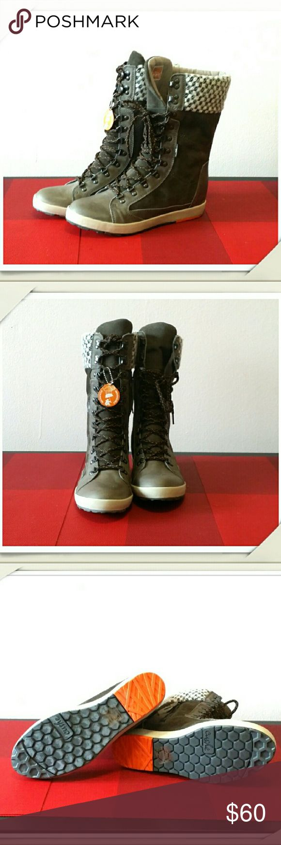 New Cushe Winter Boots Brand new. Very cute.  So comfortable. Leather and suede. Warm. Waterproof. Lace up and zipper on side. Size 10M. cushe Shoes Winter & Rain Boots