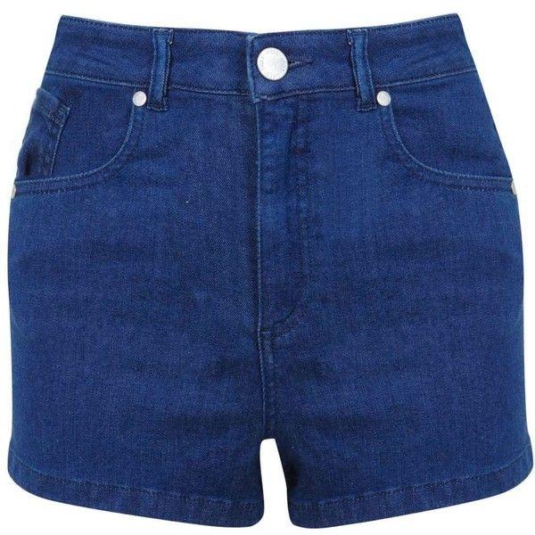 Miss Selfridge Petites Super High Waist Short ($18) ❤ liked on Polyvore featuring shorts, indigo, petite, high-rise shorts, petite shorts, cotton shorts, high waisted cotton shorts and short shorts