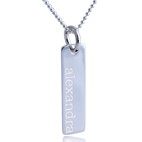 Long Dog Tag Pendant Necklace, Sterling Silver 925 (can be engraved)