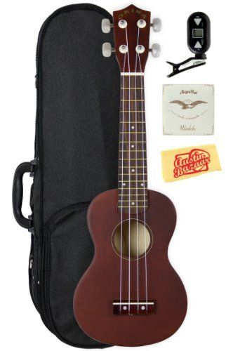 """Okina UK100 Soprano Ukulele Bundle with Polyfoam Case, Aquila Strings, Tuner, and Polishing Cloth - Natural by Okina. $64.99. Bundle includes Okina UK100 Soprano Ukulele, Polyfoam Case, extra Aquila Strings, Tuner*, and Polishing Cloth. """"Aloha e komo mai!"""" That means """"welcome"""" in Hawaiian... and Okina is happy to welcome you to the enchanting world of ukuleles. The Okina UK100 is a perfect introduction to the ukulele, an instrument with a rich history that enjoys a w..."""