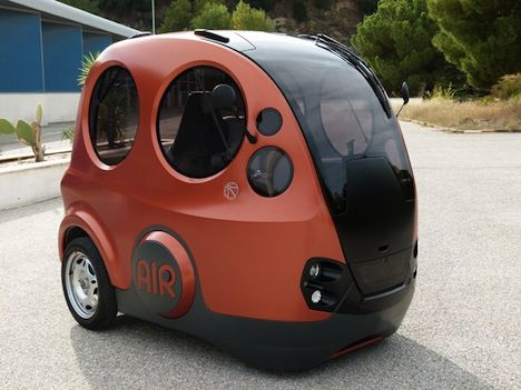''The Airpod has a 175 liter storage tank of compressed air that you refill with an external pump or with an electric motor that can 'refuel' the car while its in motion. This first model reaches a top speed of 43 mph..One tank lasts over 125 miles (200 km) and takes only two minutes to fill''.