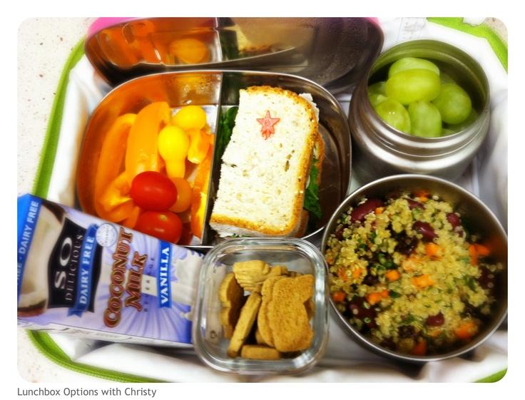 1/2 nitrate-free, organic turkey sandwich, veggies, quinoa/bean salad, grapes, coconut milk and gluten-free animal crackers!