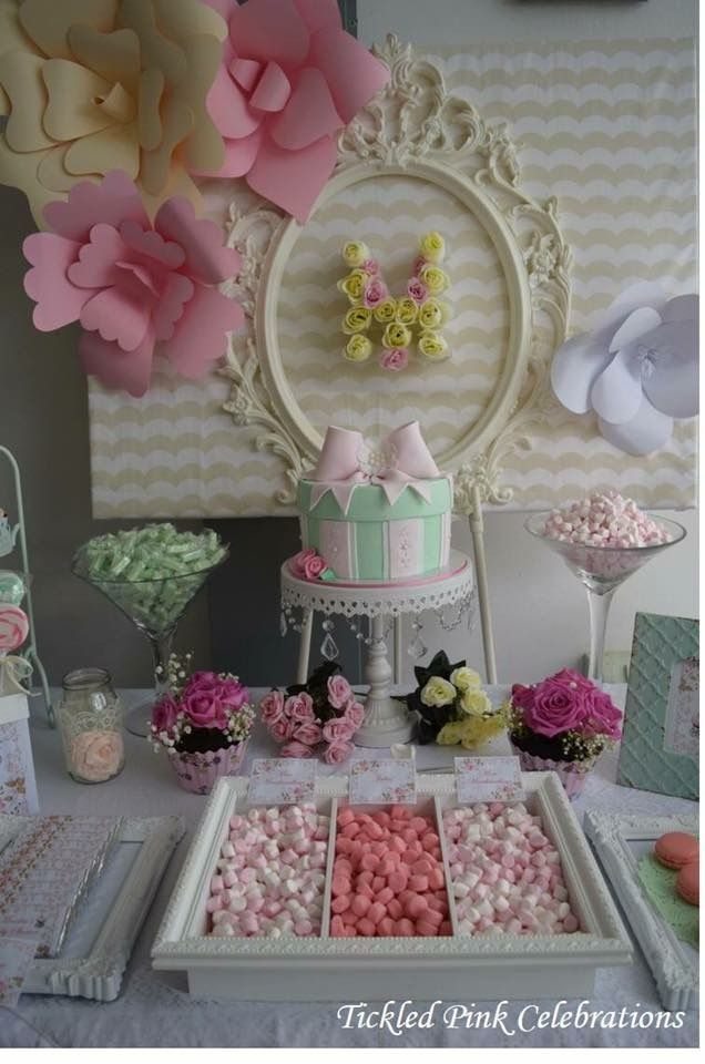 Vintage floral Lolly Buffet dessert buffet baby shower party ideas pink pastels party