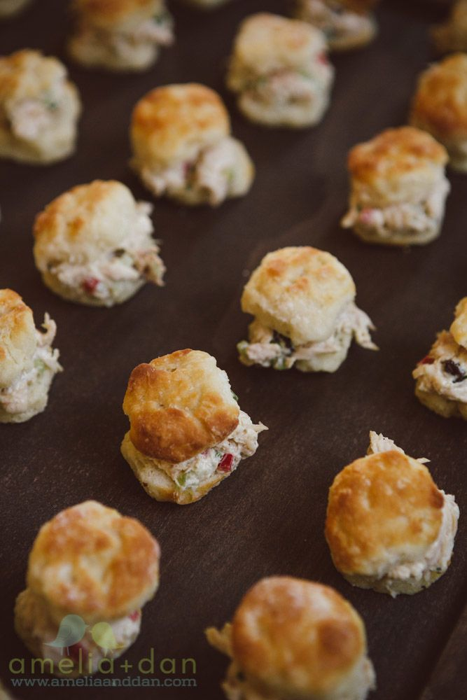 Southern Biscuits with Chicken Salad | Passed Hors D'Oeuvres & Appetizers | Wedding Inspiration | Patrick Properties Culinary Team | Charleston, South Carolina | Amelia + Dan Photography